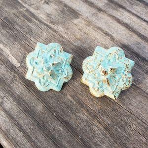 Patina metal studd earrings